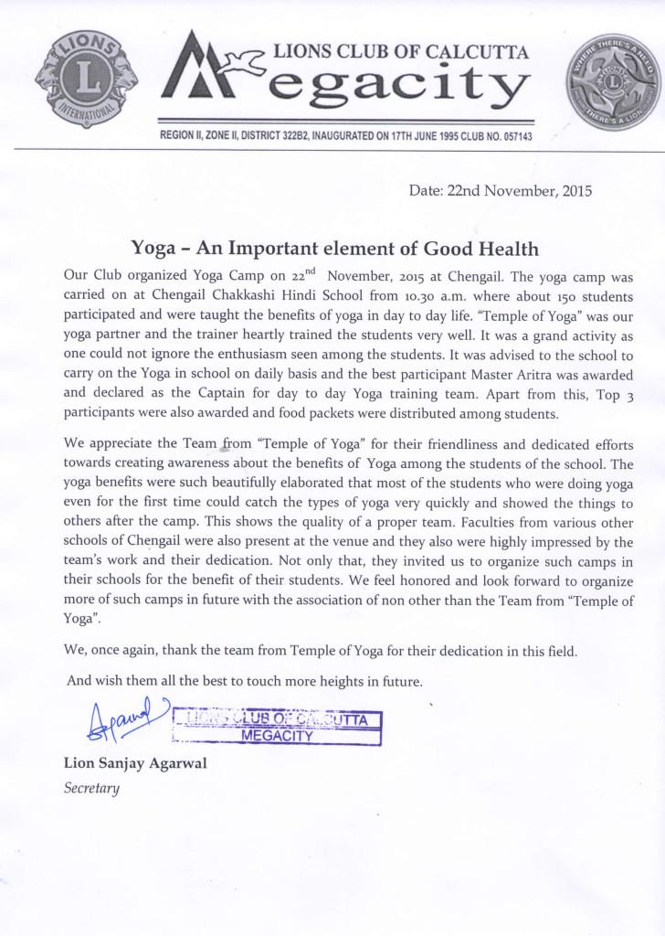 Appreciation Letter(Lion's Club)